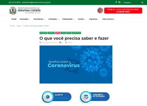 Serafina Corrêa recebe nota 9.1 na transparência da vacinação covid-19